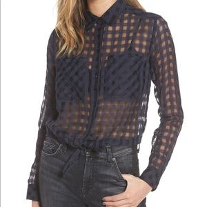 Rails Kelsey Midnight Shadow Check Navy Blouse
